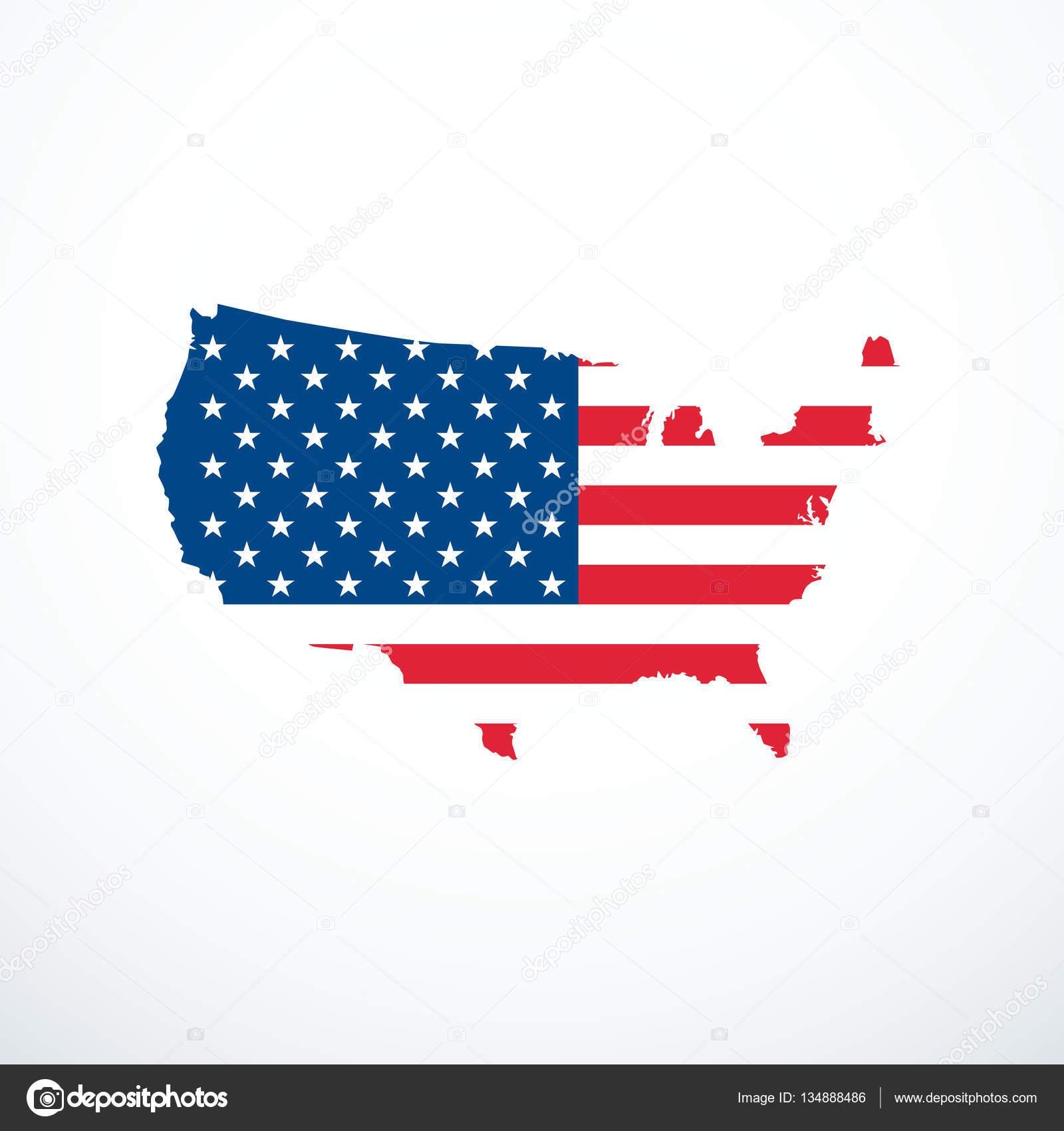 Us Stock Live Quote: USA Map Icon. Usa Flag Background