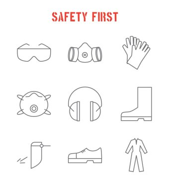 Set of safety equipment icons. Safety first