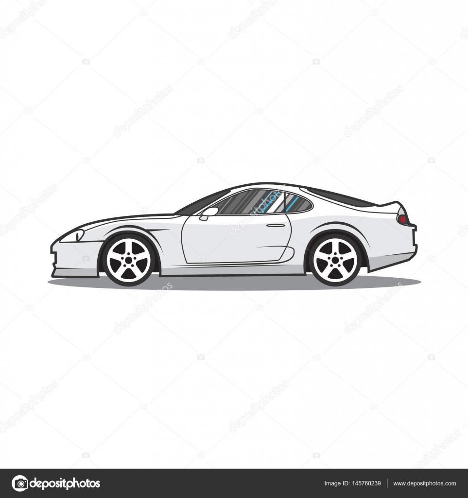 Vectores Cartoon Japón Deporte De Autos. Vista Lateral