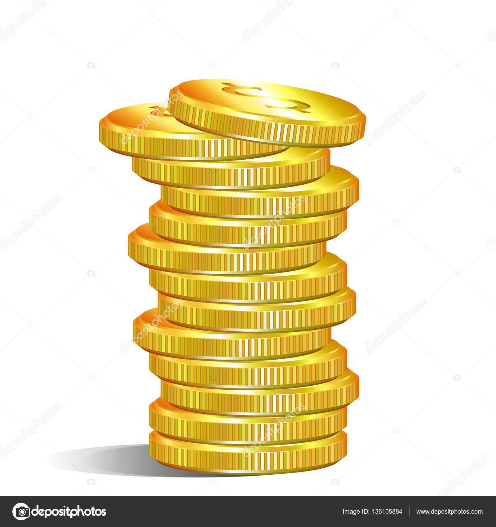 Haufen Von Gold Dollar Münzen Stockvektor Kraft2727 136105884