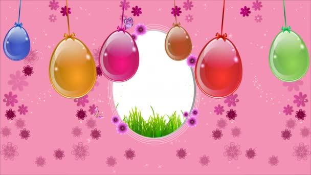 Rózsaszín húsvéti háttér egy lógó tojással, művészi videó illusztráció