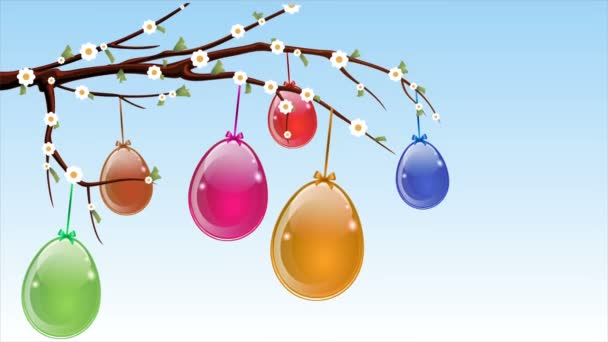 Abstract hanging Easter eggs on a spring branch, art video illustration.