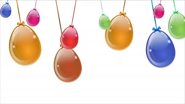 Abstract multicolored easter eggs hanging on white background, art video illustration.