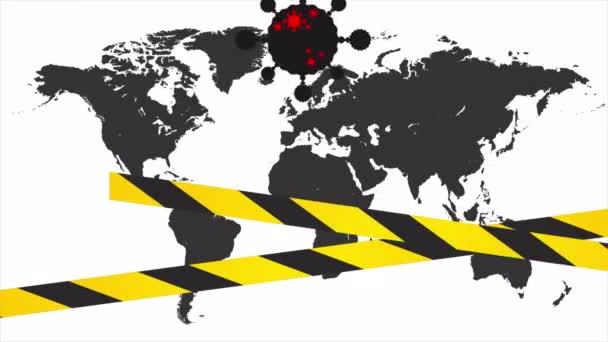 Karanténní stuha na zemi mapa pozadí, umění video ilustrace.