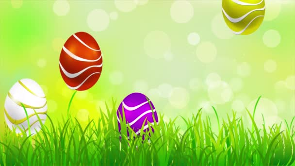 Bunny easter eggs and butterfly, art video illustration.