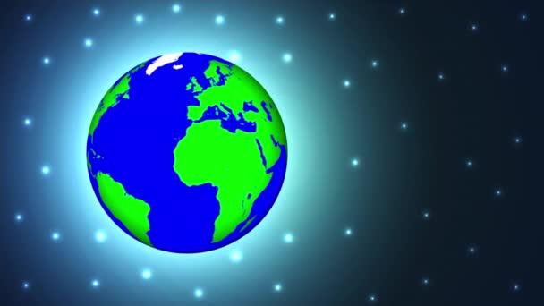 Planet Earth kék zöld térben, art video illusztráció.