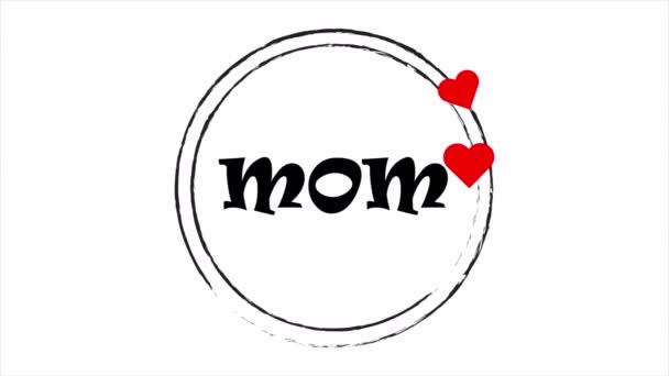 Circular stickers with hearts for mothers day, art video illustration.