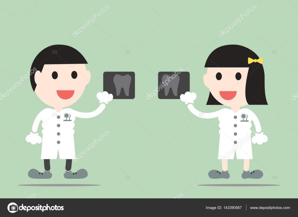 Vector De Dibujos Animados De Dientes, Dentista Sostener