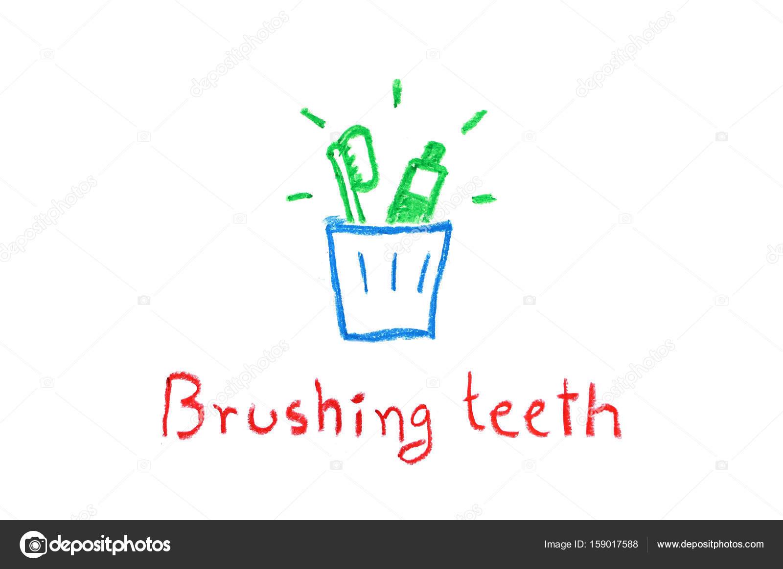 Diş Fırçası Ve Diş Macunu Diş çizim Mum Boya Fırçalama Için Cam