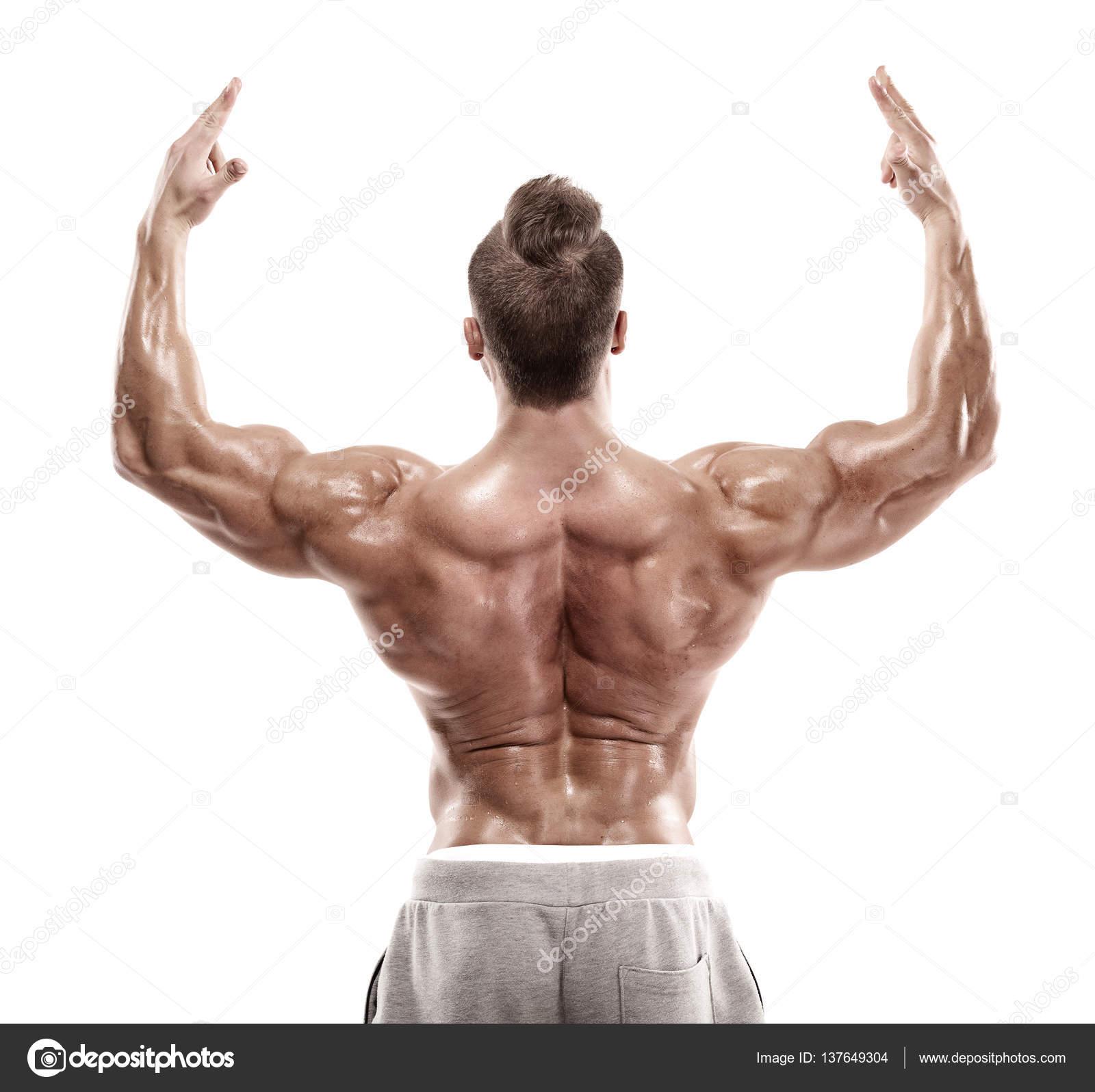 Fuerte atlético hombre Fitness modelo posando músculos de la espalda ...