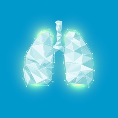 Lungs symbol. Breathing. Lunge exercise. Lung cancer