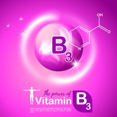 Nutrition sign vector concept. The power of vitamin B3