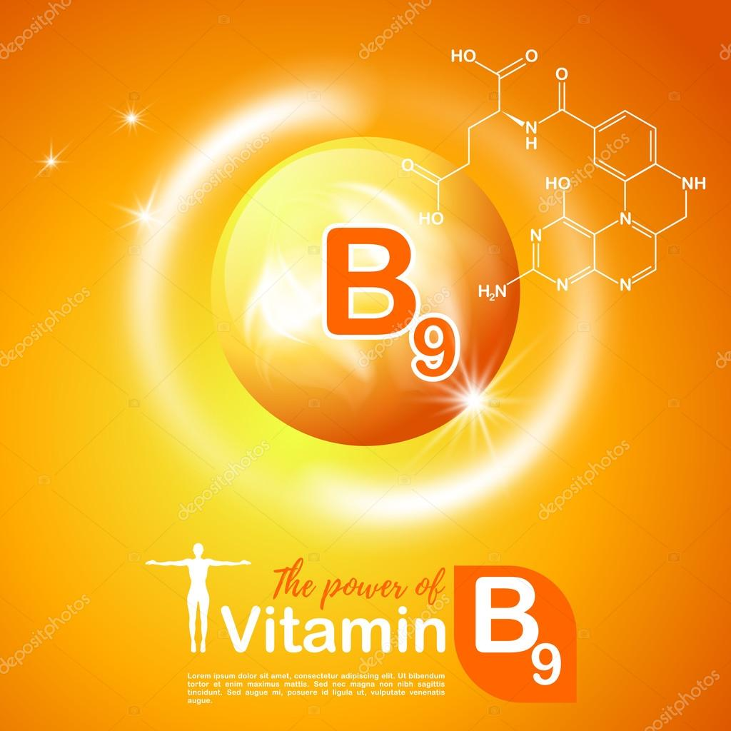 Nutrition sign vector concept. The power of vitamin B9