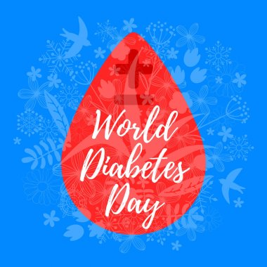 World Diabetes Day. Blood drop and floral background