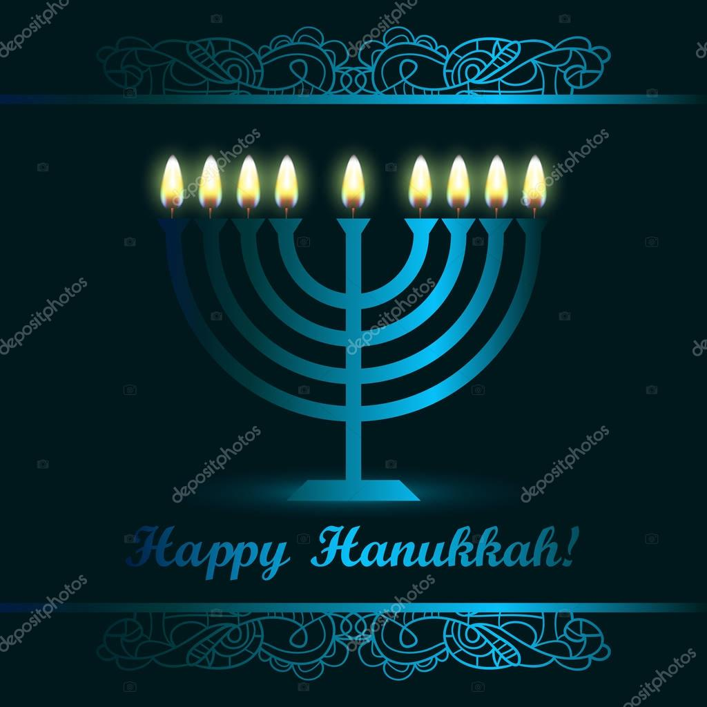 Hanukkah greeting card with candles and menorah happy hanukkah hanukkah greeting card with candles and menorah happy hanukkah stock vector m4hsunfo