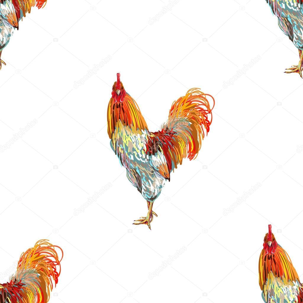 Vintage de patrones sin fisuras con gallo de animales de granja ...