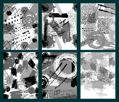 Set of artistic creative universal cards. Hand drawn texture. Trendy creative collage with different shapes. Artistic background. Unusual artwork. Modern graphic design. Vector illustration