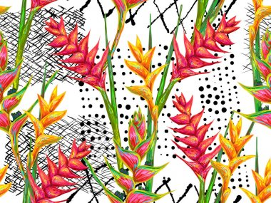 seamless pattern with flowers heliconia