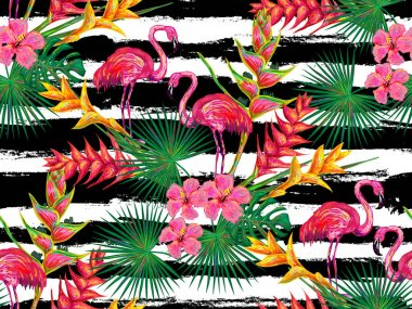 seamless pattern with flamingos and flowers