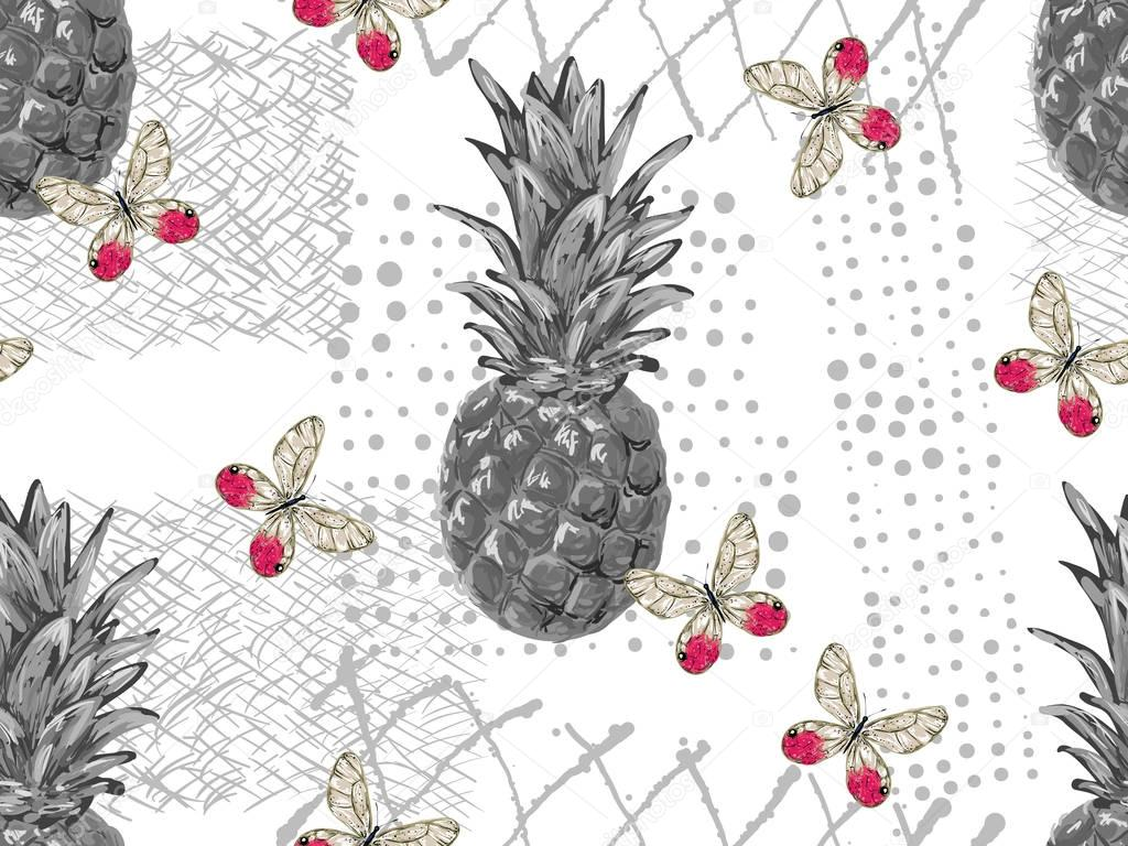 seamless pattern with butterflies and pineapples