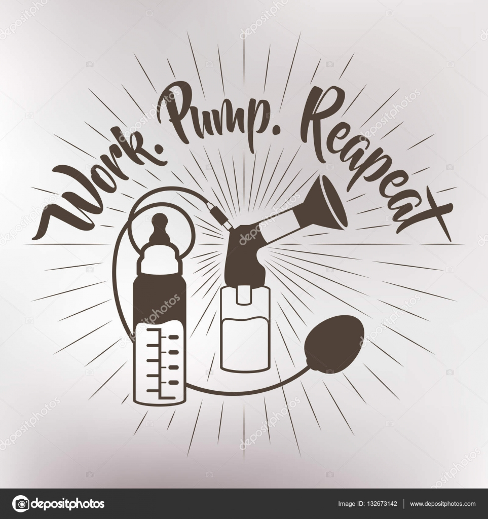 Badge. Hand drawn lettering design. Breast pump to ...