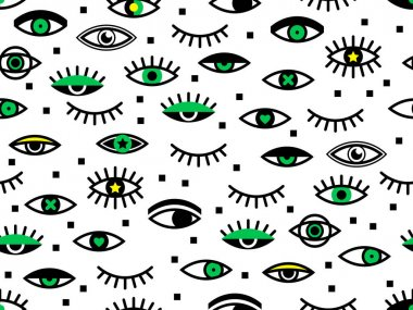 Seamless pattern with eyes. Retro texture in 80s - 90s style. Geometric eyelashes background. Hipster Memphis style for fashion. Perfect for wallpaper, pattern fill, web page, surface texture, textile