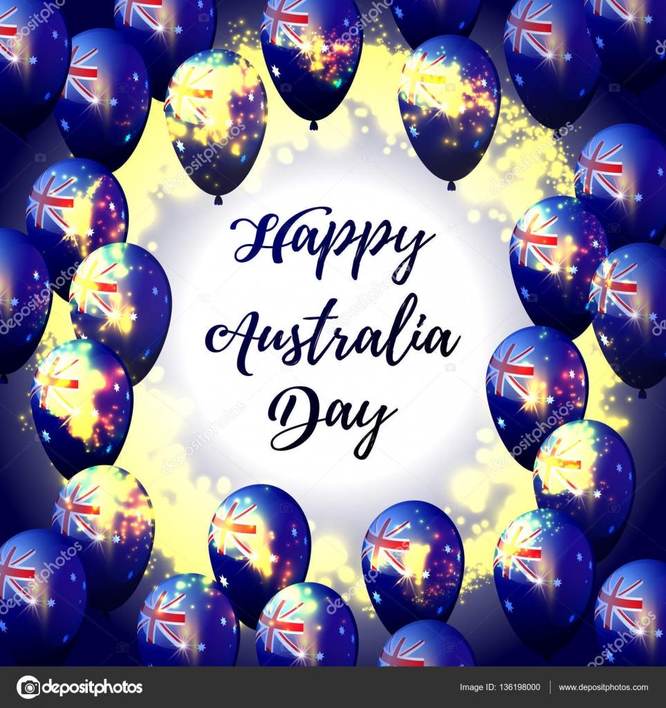Feliz día de Australia. Marco de globo con la bandera de Australia ...