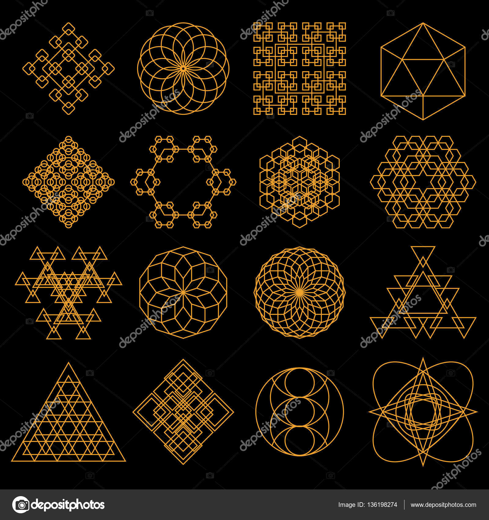 Ensemble D Icones De Tatouage Geometrique Ensemble De Neuf Symboles