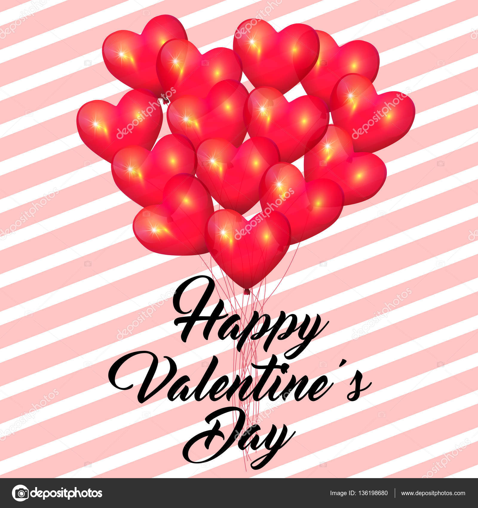 Happy Valentine S Day Realistic 3d Heart Bunch Of Balloons Flying