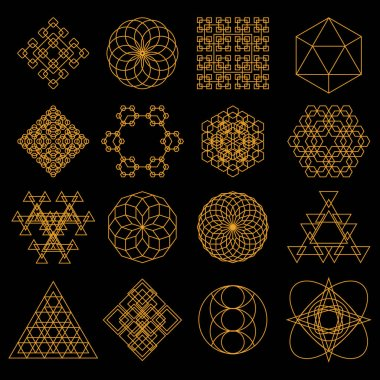 Set of geometric tattoo icons. Set of nine symbols of sacred geometry. Linear character illustration for tattoo black background