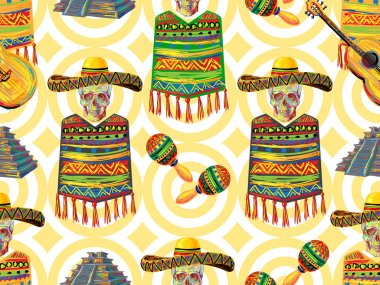 Mexican seamless music pattern with skull, sombrero hat, guitar, maracas, Aztec pyramid, poncho background. Perfect for wallpapers, pattern fills, web page backgrounds, surface textures, textile