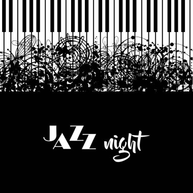 Jazz night poster design. Jazz cafe concept. Abstract piano keyboard. Musical creative invitation. Music vector illustration