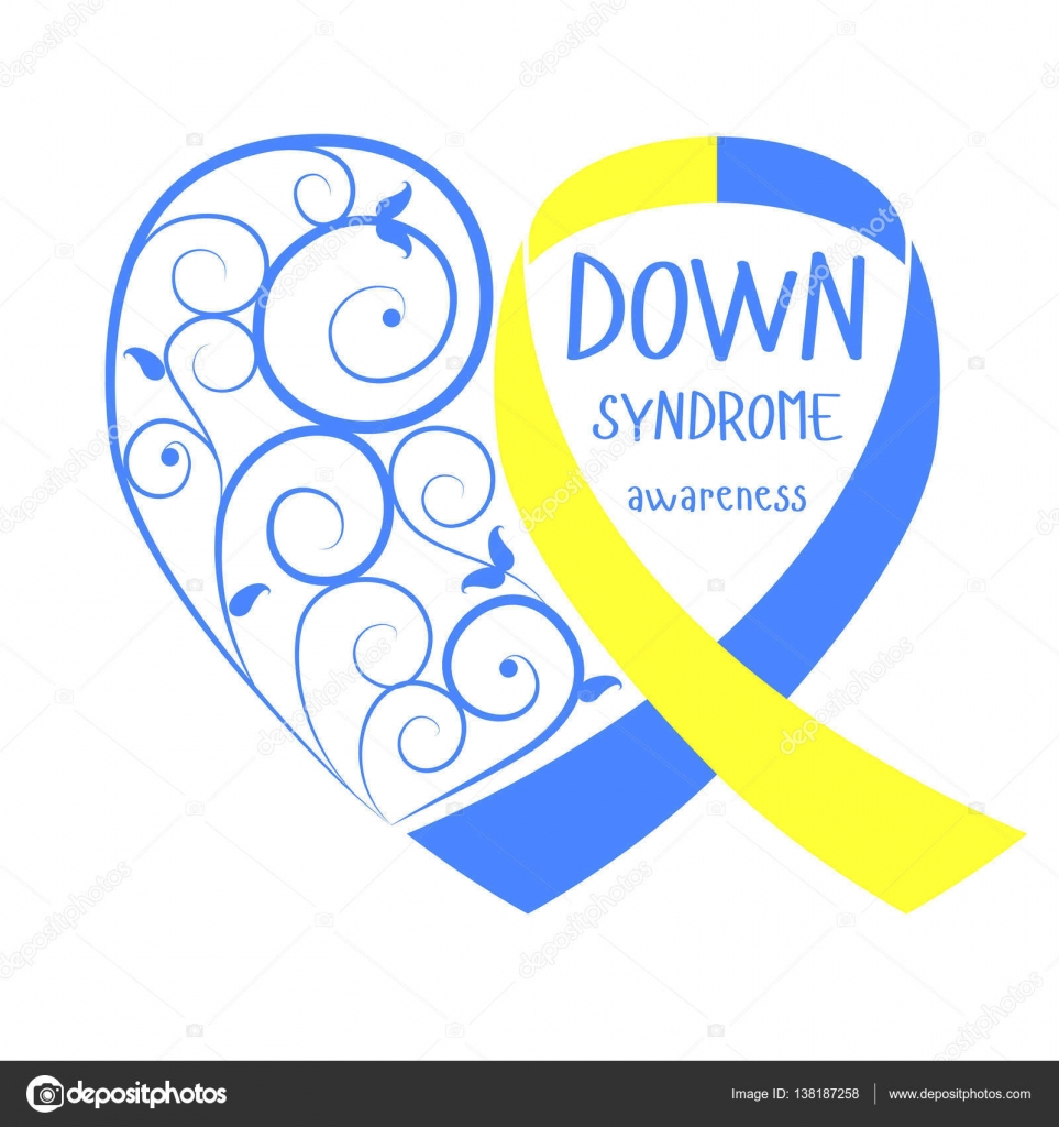 World down syndrome day symbol of down syndrome yellow and blue symbol of down syndrome yellow and blue ribbon heart biocorpaavc