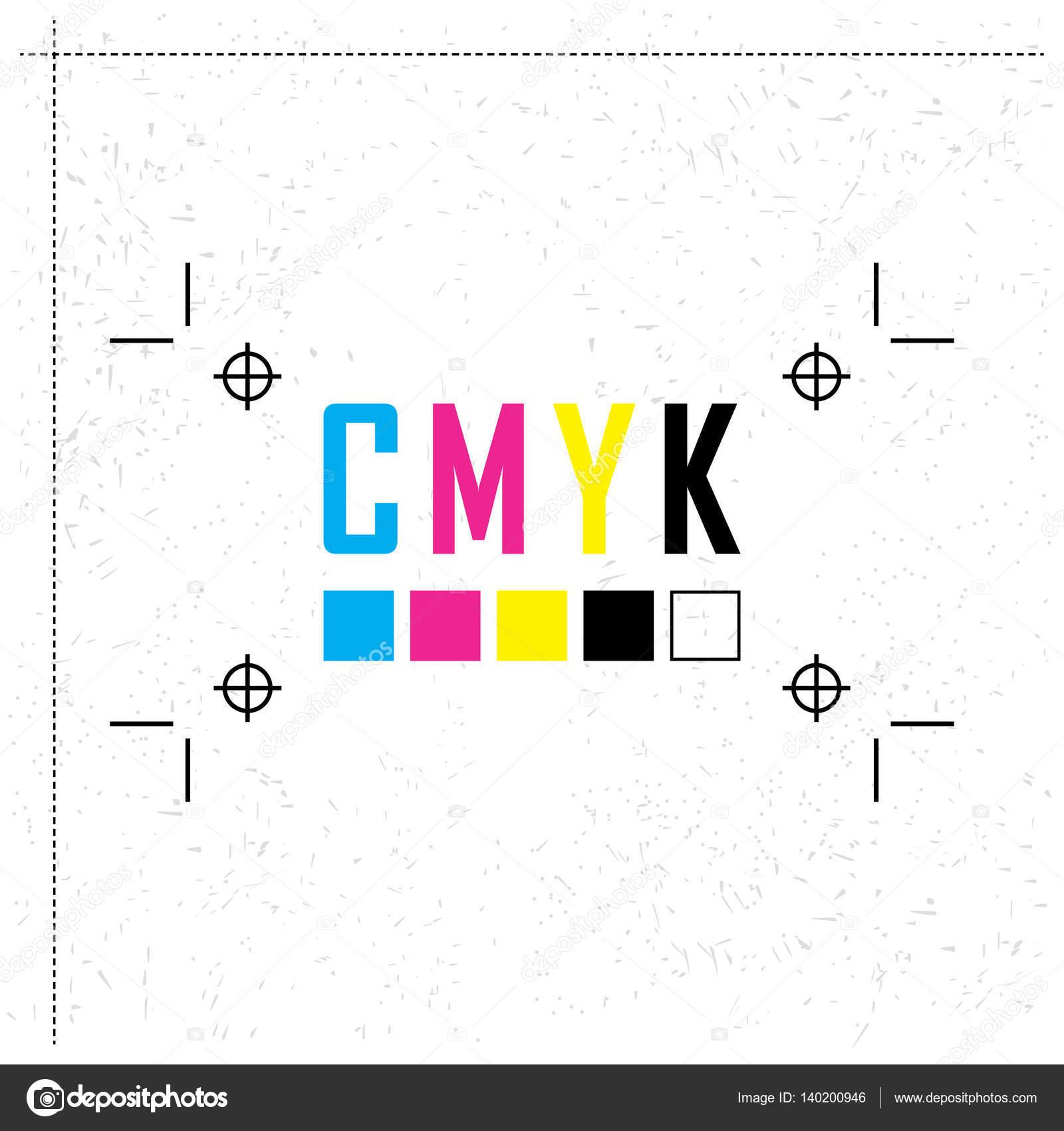 Letra de modelo de color CMYK. Concepto prueba de preimpresión ...