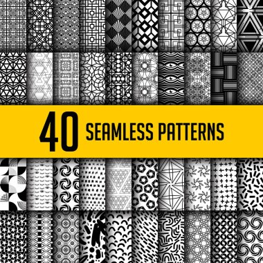 Set of 40 black and white seamless abstract patterns. Super big collections of modern geometric monochrome background for textile print, fashion, paper, texture, fabric, tile, web. Vector illustration