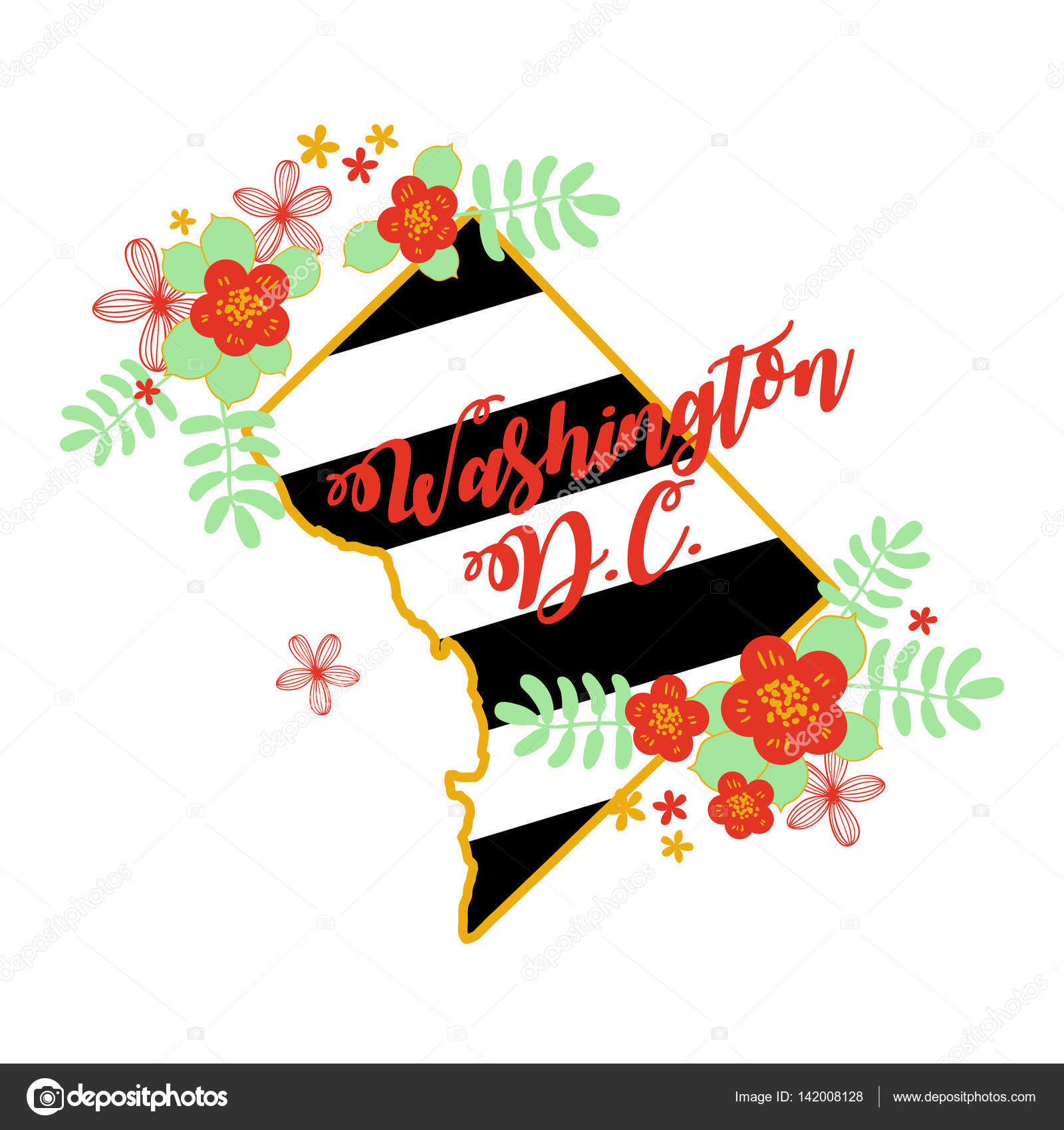 Washington DC State Map Creative Vector Typography Lettering - Washington dc map download