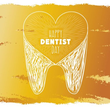 Happy dentist day. Tooth. Heart. Gold background