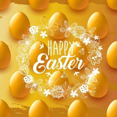 Happy Easter. Gold Egg. Golden background. Celebration. Vector illustration