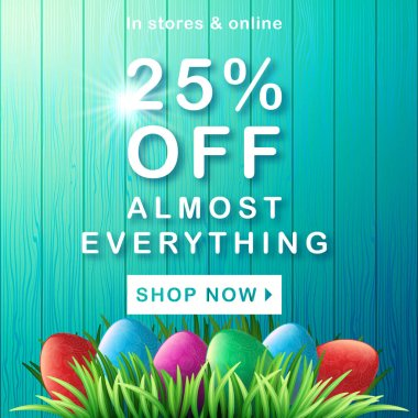 Happy Easter. Spring sale. 3d egg. Green grass. Wood background. Celebration. Vector illustration. Shop now