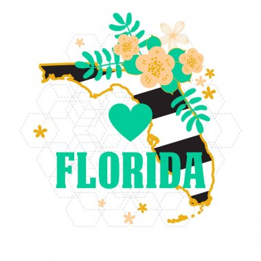 Florida State Map Creative Vector Typography Lettering Composition with flowers. Design Concept