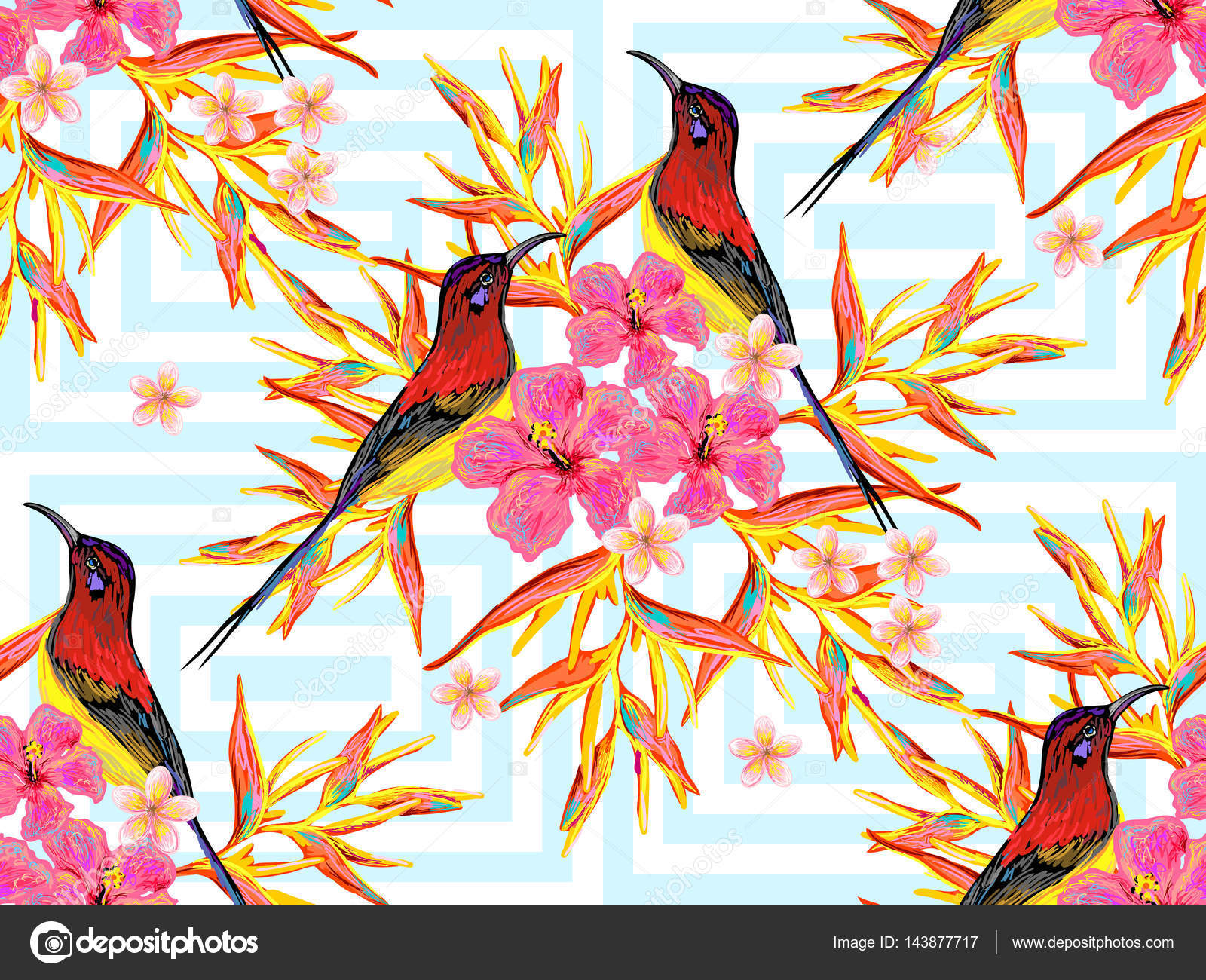 seamless summer tropical pattern with birds, butterflies and exotic