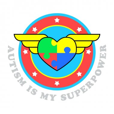 Autism is my superpower. World autism awareness day. Symbol of autism. Medical flat illustration. Health care. Vector design illustration with heart consisting of puzzles