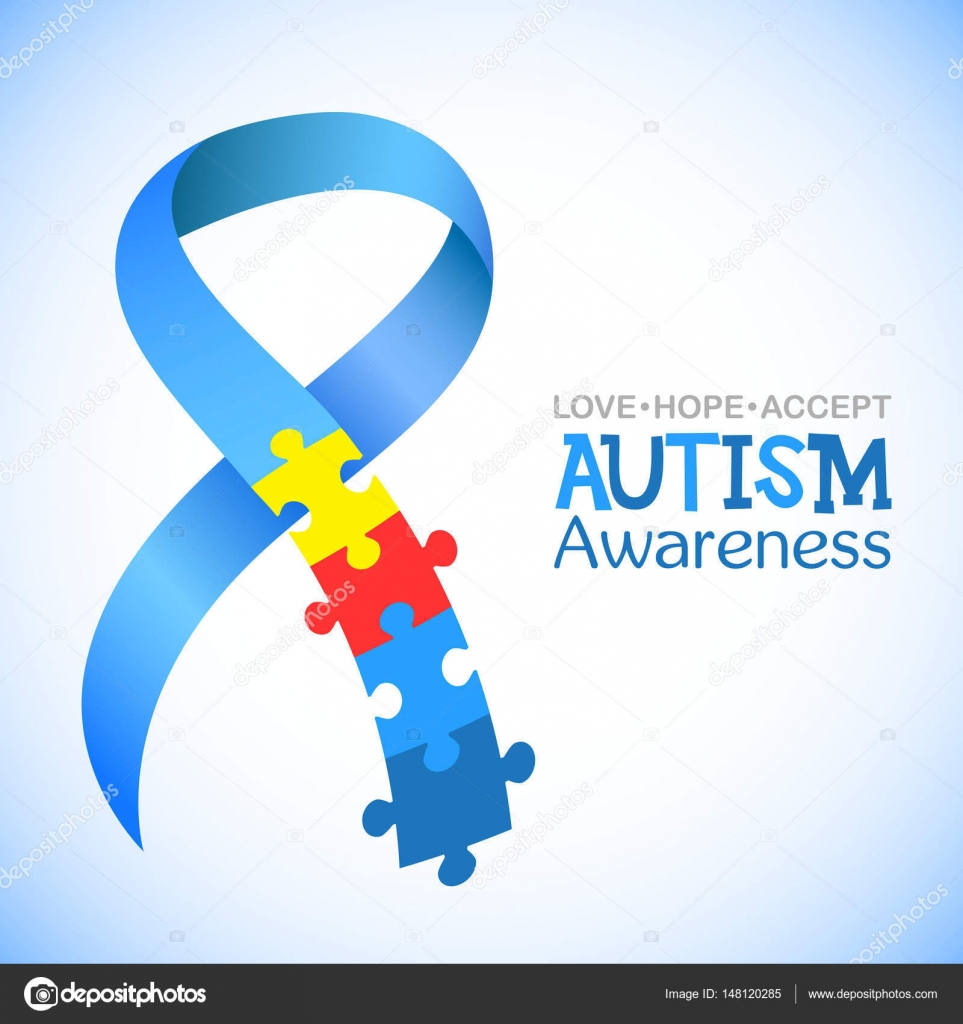 World Autism Awareness Day Blue Ribbon With Colorful Puzzles Vector