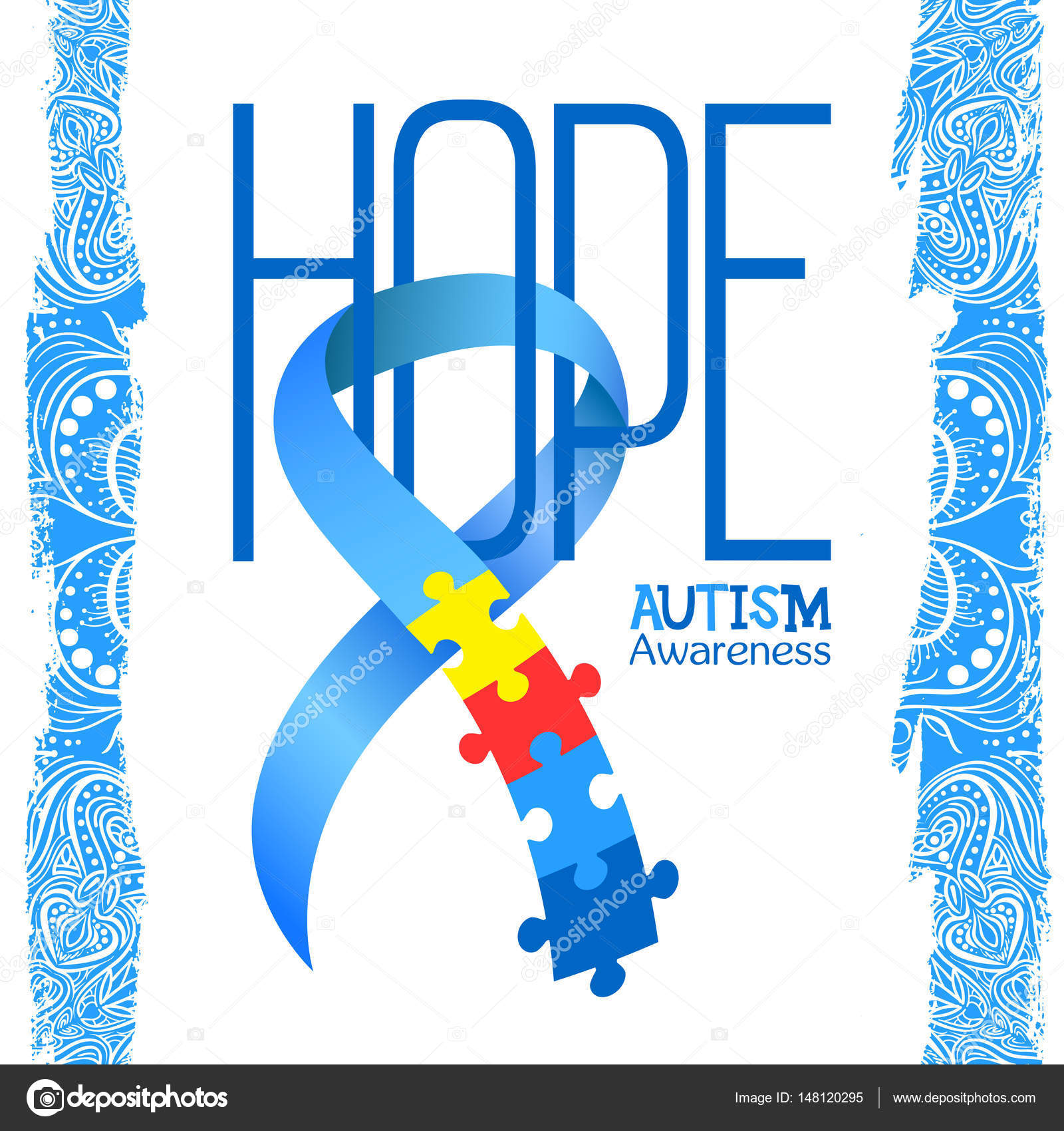 World autism awareness day blue ribbon with colorful puzzles vector world autism awareness day blue ribbon with colorful puzzles vector background hope symbol of autism medical flat illustration biocorpaavc Gallery