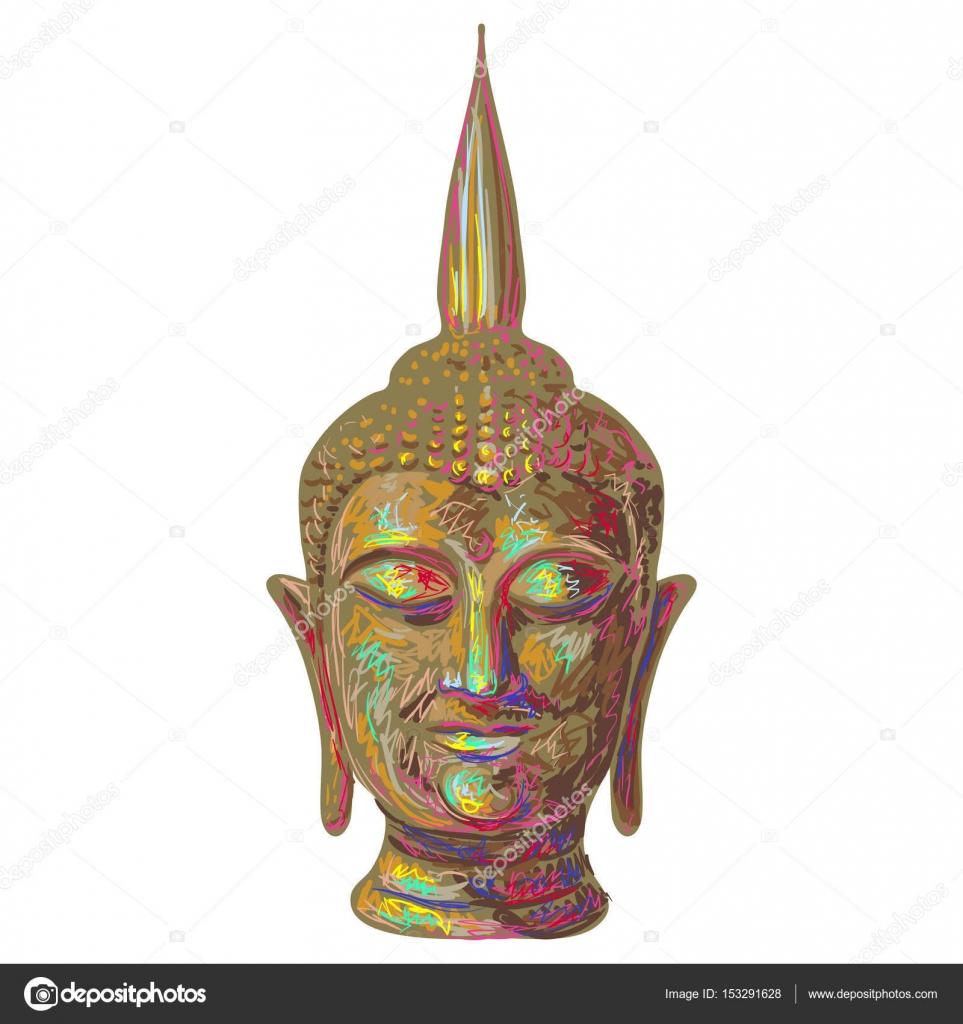 Tete De Bouddha Dieu Esquisse Illustration Vectorielle Sur Fond