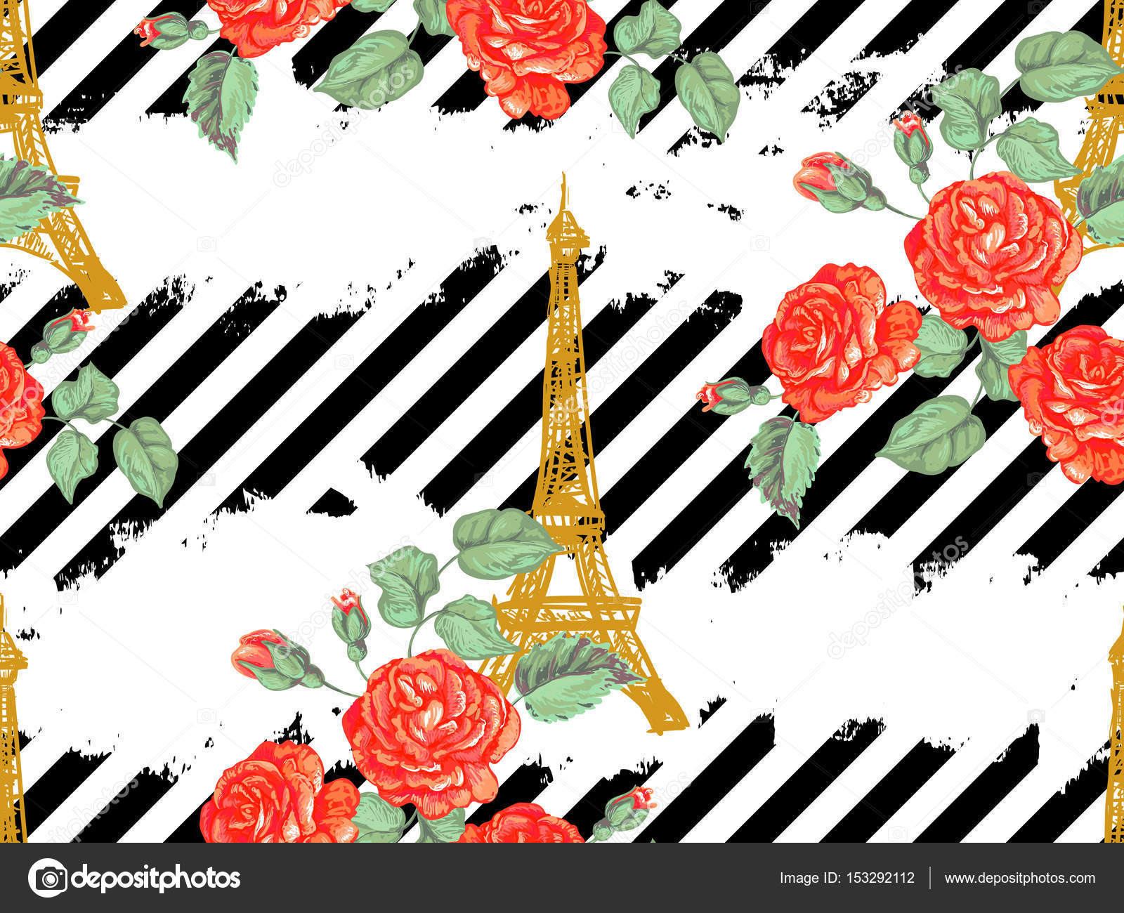 Patrones sin fisuras de París con la Torre Eiffel y rosas flores ...