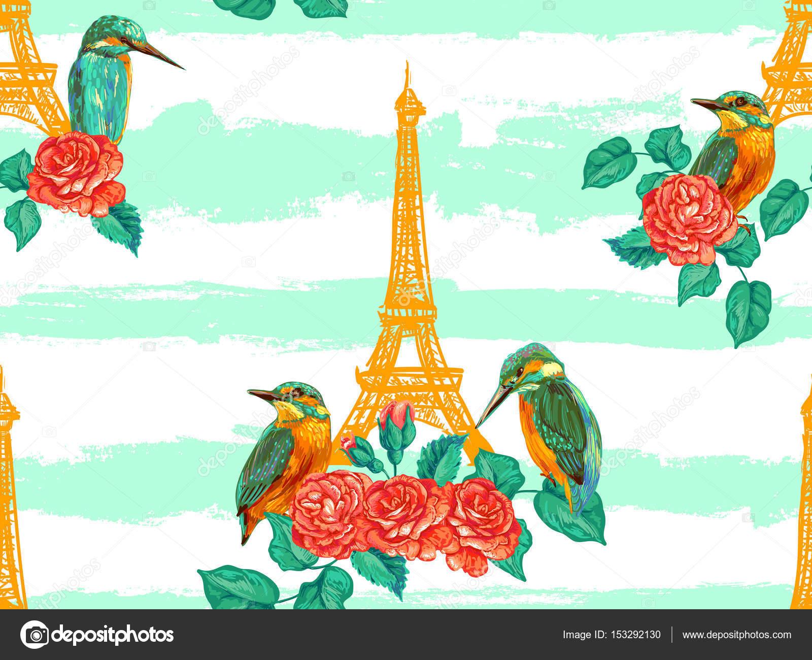 Wzór Paryż Z Wieży Eiffla Ptaki I Róże Kwiaty Tło Wektor Francuski