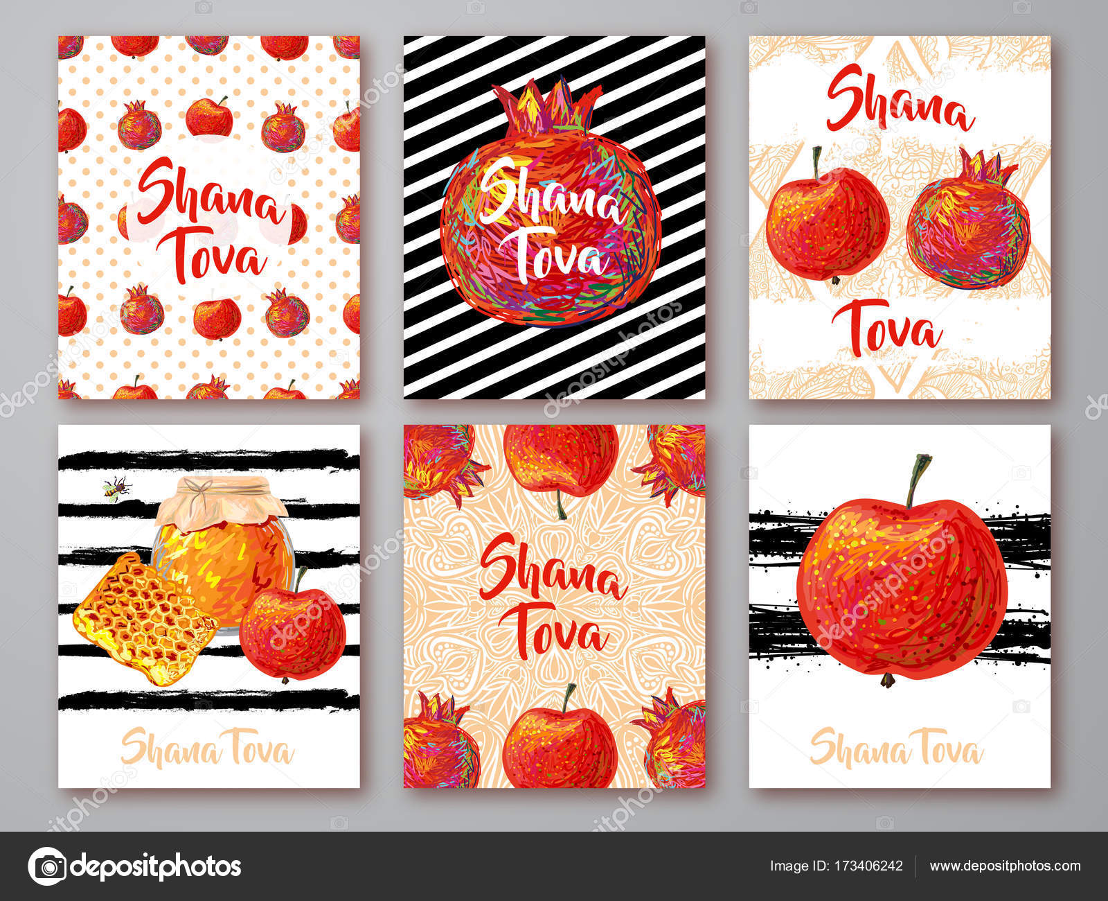Set of greeting cards with symbol of rosh hashanah pomegranate set of greeting cards with symbol of rosh hashanah pomegranate apple honey jewish new year celebration m4hsunfo