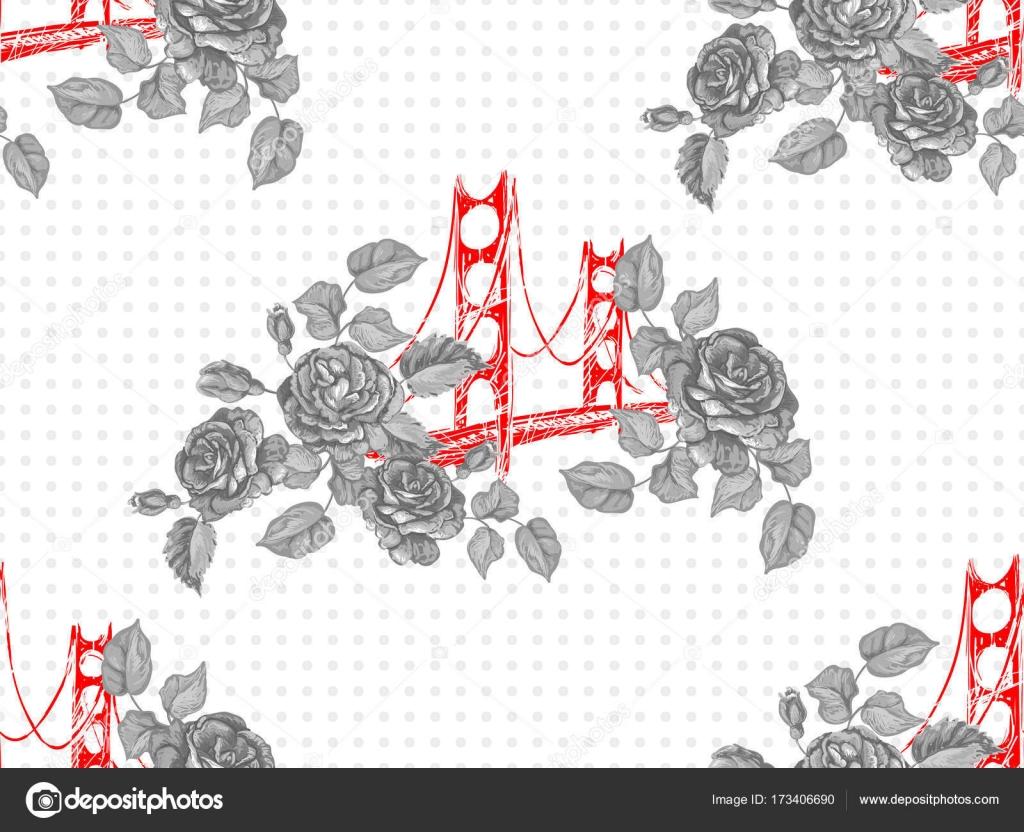 Sin fisuras patrón de París con puente Golden Gate y rosas flores ...