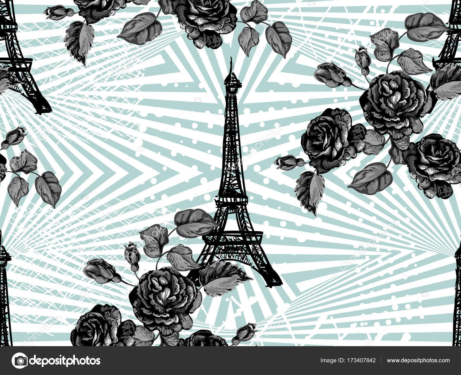Wzór Paryż Z Wieży Eiffla I Róże Kwiaty Tło Wektor Francuski